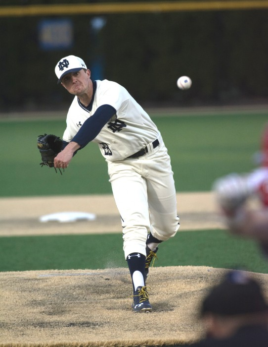 Irish senior left-hander Michael Hearne releases a pitch during Notre Dame's 9-5 win over Illinois Chicago on March 22 at Frank Eck Stadium.