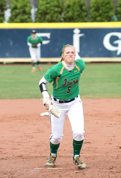Irish senior Allie Rhodes delivers a pitch during Notre Dame's 5-4 win over Florida State on Sunday at Melissa Cook Stadium.