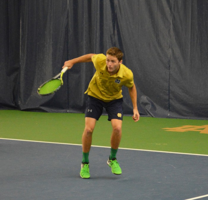 Irish senior Quentin Monaghan follows through on a forehand shot during Notre Dame's 5-2 win over Duke on March 18.