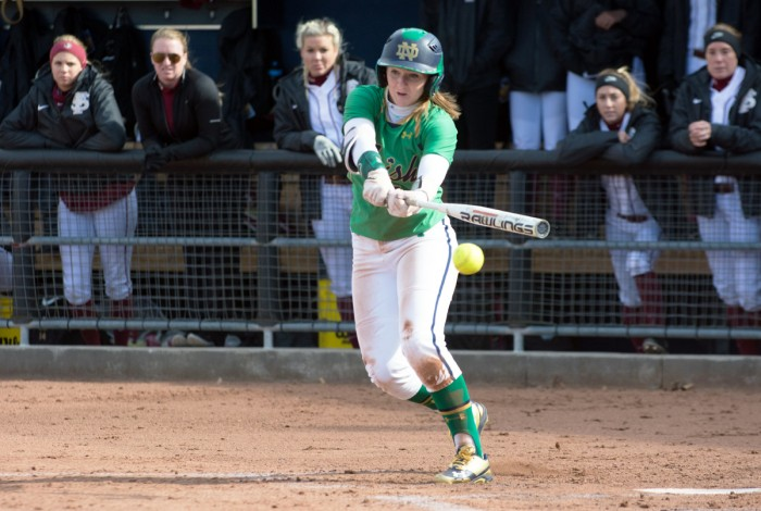 Irish freshman Ali Wester second baseman slaps the ball into play during Notre Dame's 5-4 win over Florida State on Sunday.