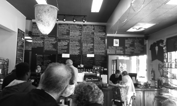 The front counter and menu at Chicory Café