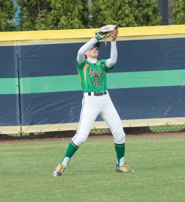 Irish sophomore outfielder Bailey Bigler catches a fly ball during Notre Dame's 5-4 win over Florida State on April 3.