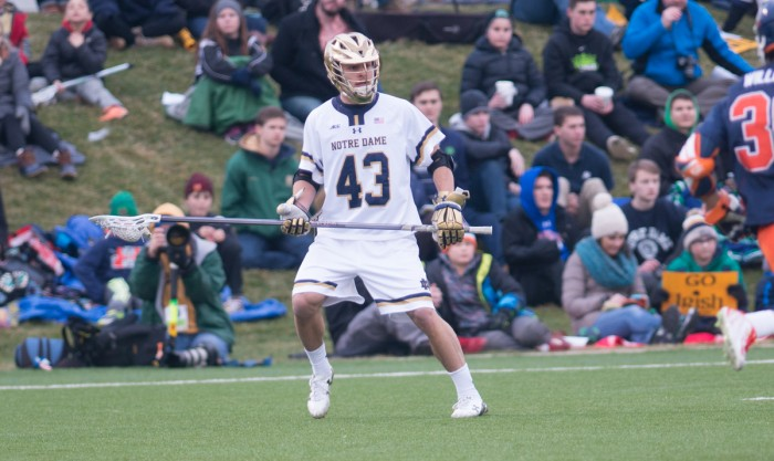 Irish senior defender Matt Landis looks to pass the ball during Notre Dame's 8-7 victory in overtime against Virginia on March 19.