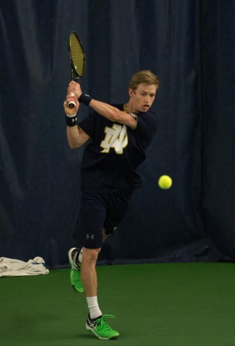 Irish junior Josh Hagar follows through on a backhand during Notre Dame's 5-2 win over Duke on March 18 at Eck Tennis Pavilion.