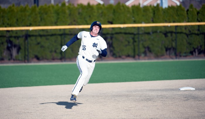 Irish senior first baseman Zak Kutsulis sprints towards third base during Notre Dame's 6-3 win over Chicago State on Tuesday at Frank Eck Stadium.