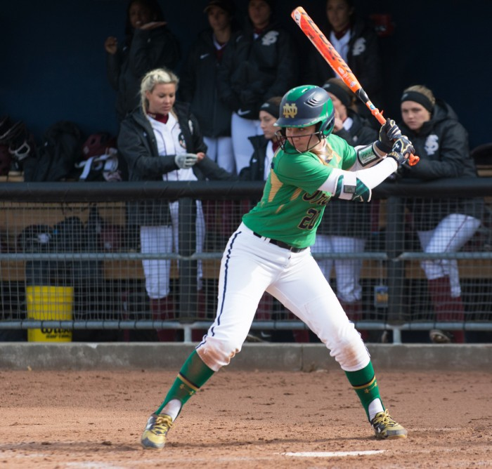 Irish sophomore infielder Morgan Reed waits for the pitch during Notre Dame's 5-4 victory over Florida State on April 3. Reed bunted a single during the fifth inning when the Irish first took the lead.