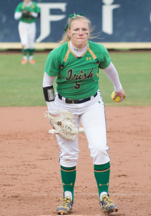 Irish senior pitcher Allie Rhodes winds up for a pitch during Notre Dame's 5-4 win over Florida State at Notre Dame Stadium.