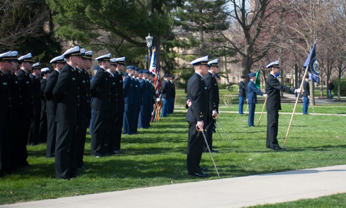 Reserve Office Training Corps (ROTC) students gathered Wednesday afternoon for the Pass-in-Review ceremony on South Quad.