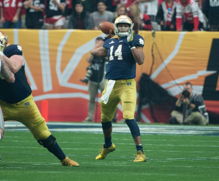 Irish junior quarterback DeShone Kizer throws a pass during Notre Dame's 44-28 Fiesta Bowl loss to Ohio State on Jan. 1 in Glendale, Ariz.