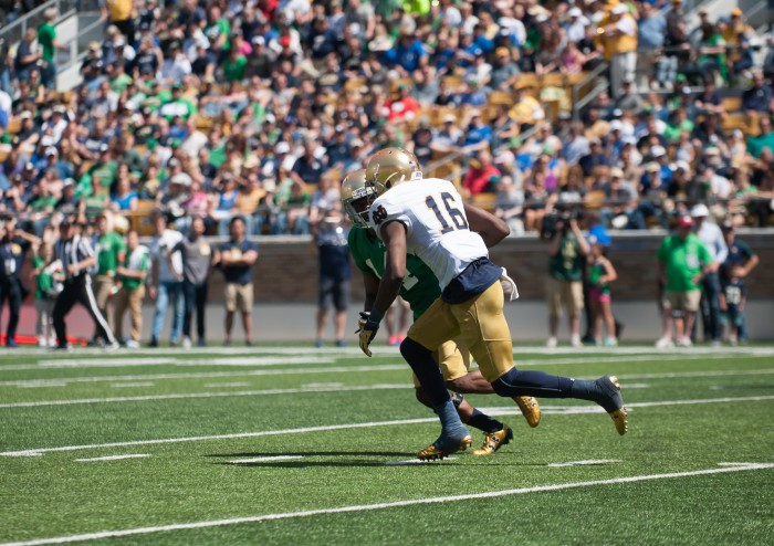 Senior receiver Torii Hunter Jr. tries to create separation during Notre Dame's Blue-Gold Game on Saturday.