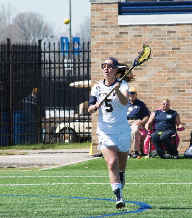 Senior attack Rachel Sexton looks to receive a pass during Notre Dame's 10-9 victory over Duke on Saturday at Arlotta Stadium.