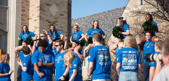 Cheerleaders don The Shirt at the annual unveiling ceremony Friday at Hammes Bookstore. Proceeds from sales of The Shirt help fund The Shirt Charity, the Rector Fund and various student clubs and organizations.