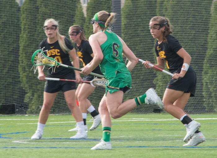 Irish senior midfielder Stephanie Toy attacks the Trojan defense during Notre Dame's 5-4 loss to USC on Monday at Arlotta Stadium.