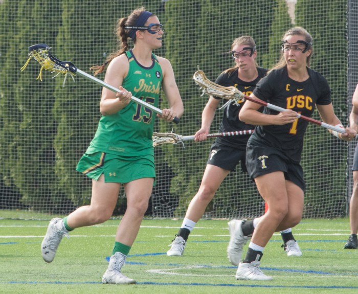 Irish junior attack Cortney Fortunato looks for the open pass during Notre Dame's 5-4 loss to USC on Monday at Arlotta Stadium.