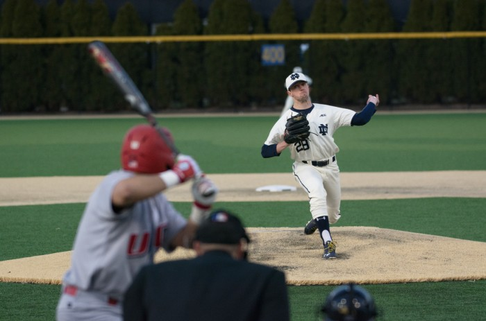 Irish senior left-hander Michael Hearne fires a pitch during Notre Dame's 9-5 win over UIC on March 22 at Frank Eck Stadium. Notre Dame has won every game Hearne has started this season.