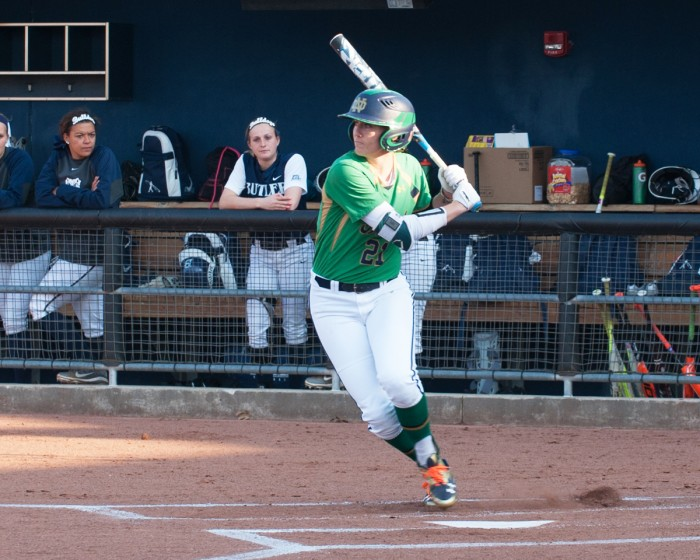 Irish junior outfielder Karley Wester slaps a single during Notre Dame's 5-0 win over Butler at Melissa Cook Stadium on April 14.