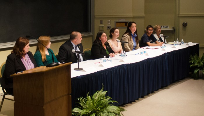 Students, faculty and staff gathered in DeBartolo Hall on Wednesday night to discuss how to prevent and respond to incidences of sexual assault on campus. Panelists reflected on the recent Campus Climate results.