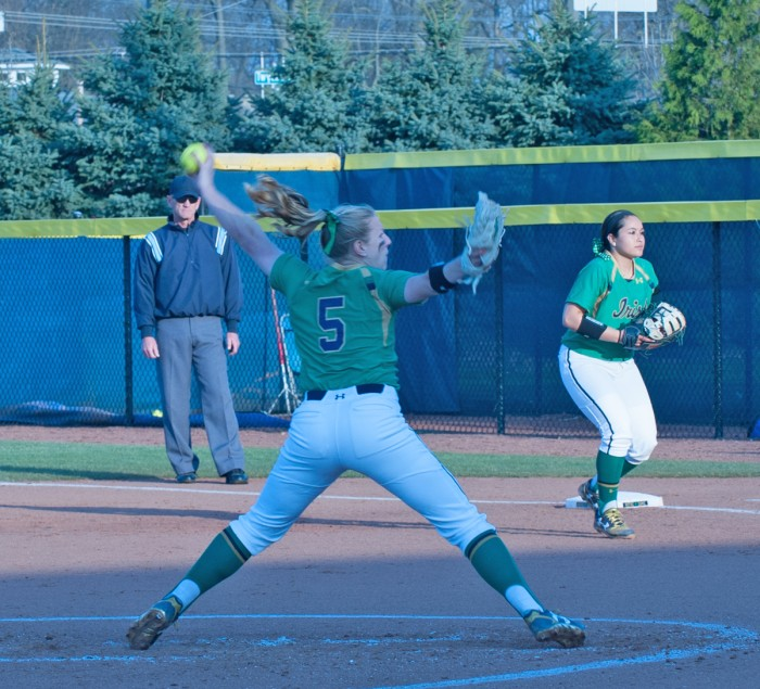 Senior Allie Rhodes gets set to deliver a pitch during Notre Dame's 5-0 victory over Butler.