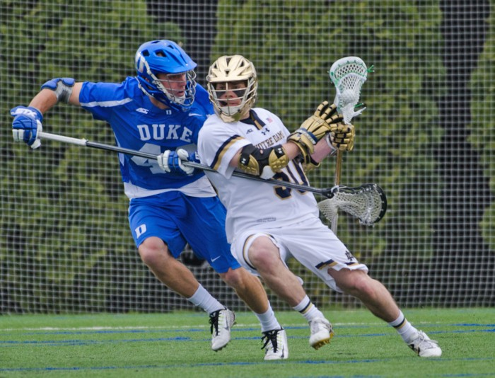 Senior attack Matt Kavanagh dodges a defender in Notre Dame's 8-6 victory over Duke on April 10 at Arlotta Stadium.