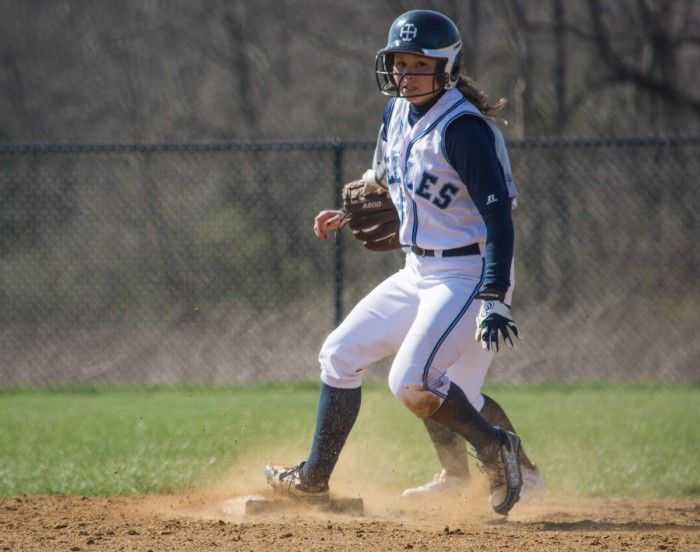 Saint Mary's sophomore outfielder Makenzie Duncan reaches second base during the Belles' 6-5 loss to Adrian at Saint Joseph High School North Field Complex on April 5.