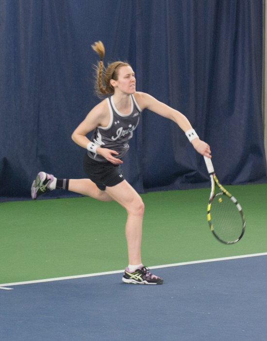 Irish sophomore Brooke Broda returns the ball during Notre Dame's 6-1 win over Indiana at Eck Tennis Pavilion on Feb. 20.