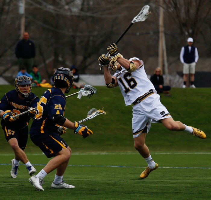 Irish junior midfielder Sergio Perkovic fires a shot during Notre Dame's 8-7 overtime win over Marquette on April 13.