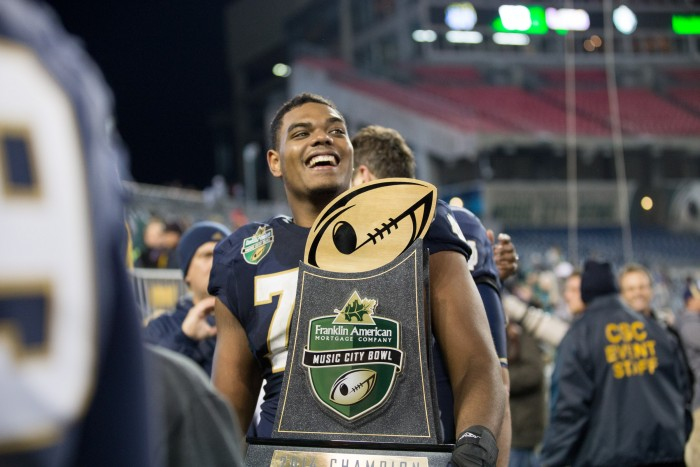 Irish offensive lineman Ronnie Stanley celebrates Notre Dame's 31-28 victory over LSU at the Franklin American Mortgage Music City Bowl at LP Field on Dec. 30, 2014. Stanley was Notre Dame's first offensive tackle drafted in the first round of the NFL Draft since Luke Petitgout was drafted No. 19 overall by the New York Giants in 1999.