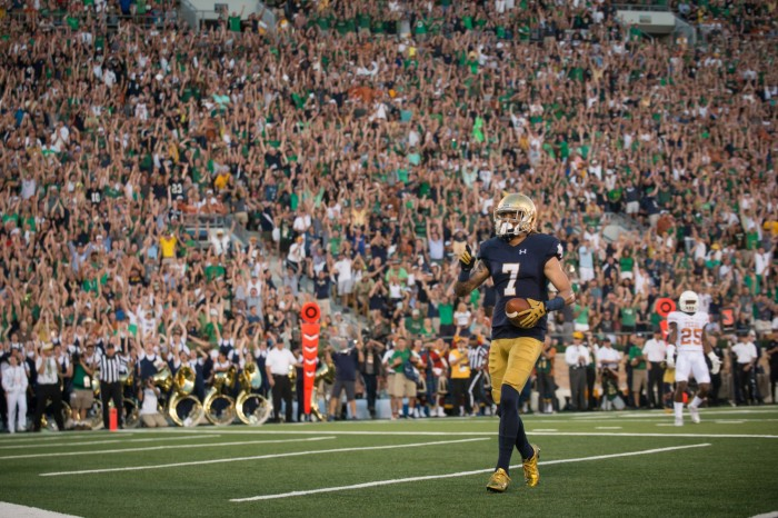 Former Irish receiver Will Fuller gets ready to celebrate after a touchdown pass during Notre Dame's 38-3 victory over Texas on Sept. 5 at Notre Dame Stadium.