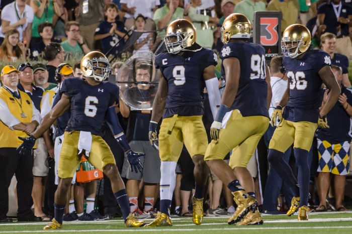 Former Irish linebacker Jaylon Smith celebrates with his teammates during Notre Dame's 38-3 victory over Texas on Sept. 4 at Notre Dame Stadium.
