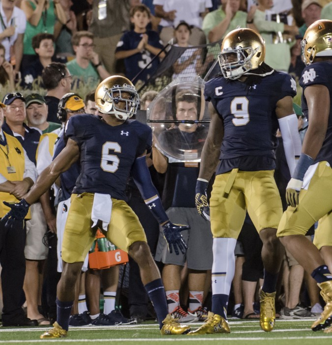 Former Irish cornerback KeiVarae Russell celebrates a third-down stop during Notre Dame's 38-3 win over Texas on Sept. 5 at Notre Dame Stadium. Russell was the fifth Irish player to be drafted in the 2016 NFL Draft.