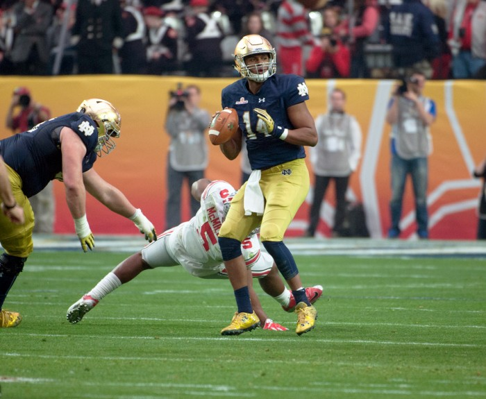 Junior quarterback DeShone Kizer surveys his options during Notre Dame's Fiesta Bowl loss to Ohio State on Jan. 1.