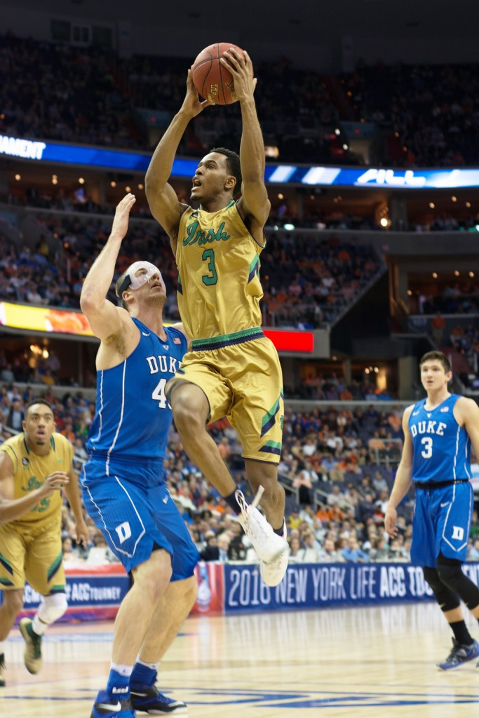 Irish junior forward V.J. Beachem elevates towards the basket during Notre Dame's 84-79 overtime win against Duke on March 10.