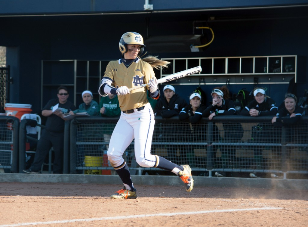 Irish junior outfielder Karley Wester watches a pitch in Notre Dame's 10-2 win over Eastern Michigan on March 22 at Melissa Cook Stadium.