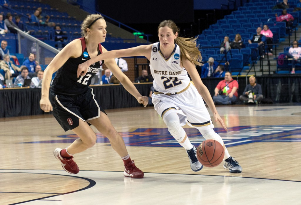 Irish graduate student guard Madison Cable dribbles past a defender during Notre Dame's 90-84 loss to Stanford on March 25 in the Sweet 16. Cable was the team's second-highest scorer this season.