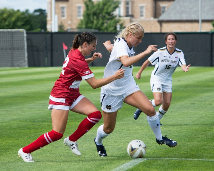 Freshman forward Jennifer Westendorf dodges an opponent during Notre Dame's 1-0 win over Wisconsin at Alumni Stadium on Aug. 21.