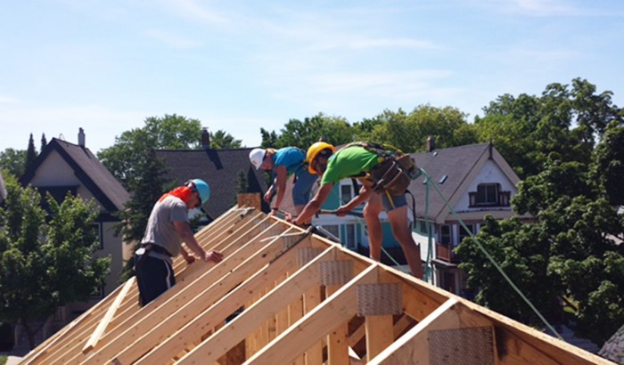 Sophomore Brittany Margritz works on a construction project in Milwaukee over the summer. Margritz volunteered for Habitat for Humanity, part of her SSLP sponsored by the University.