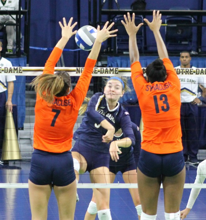 Irish junior middle blocker Sam Fry spikes the ball during Notre Dame's 3-2 loss to Syracuse on Oct. 4 at Purcell Pavilion.
