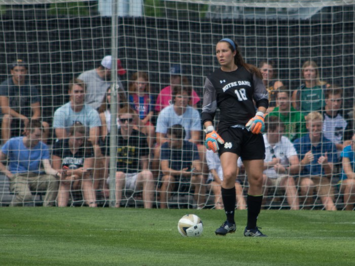 Irish senior goalkeeper Kaela Little looks to pass the ball during Notre Dame's 1-0 win over Wisconsin at Alumni Stadium on Aug. 21.