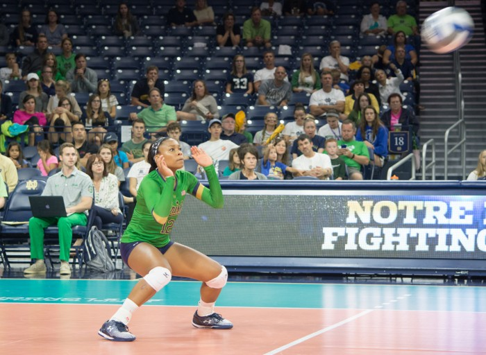 Irish freshman outside hitter Jemma Yeadon eyes the ball during Notre Dame's 3-0 win against Western Michigan at Purcell Pavilion. Yeadon made her first collegiate appearance in Saturday's match against Cleveland State and finished with 16 total kills against the two teams.