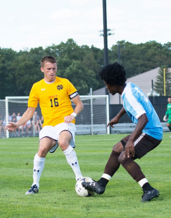Irish graduate student Michael Shipp battles a defender for the ball during Notre Dame's 1-1 tie against Valparaiso on Aug. 22 at Alumni Stadium.