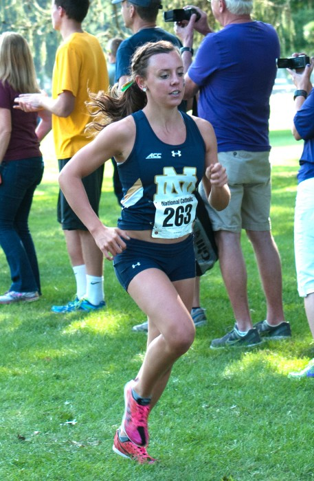Irish graduate student Sydni Meunier begins her 5k race during the National Catholic Championship at Notre Dame on Sep. 19 during the 2014 season. Munier finished 7th overall out of the field of 91 runners.