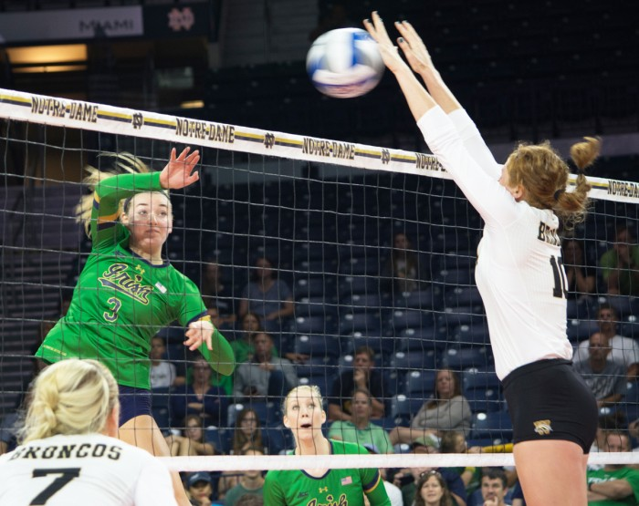 Irish junior middle blocker Sam Fry attempts a kill during Notre Dame's 3-0 win over Western Michigan on Saturday at Purcell Pavilion.
