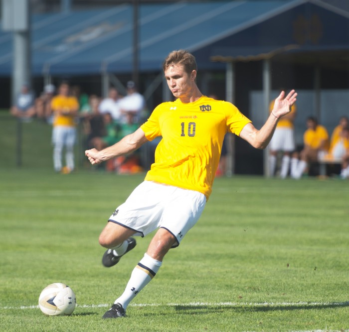 Irish senior defender Brandon Aubrey strikes a free kick during Notre Dame's 1-1 draw with Valparaiso in an exhibition match Aug. 22 at Alumni Stadium. Aubrey has scored three goals this season for the Irish.