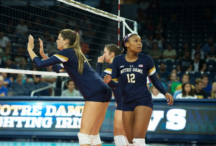 Irish freshman outside hitter Jemma Yeadon readies for the next point during Notre Dame's 3-0 loss to Coastal Carolina on Friday at Purcell Pavilion. Yeadon had a team-high 13 kills in the match.