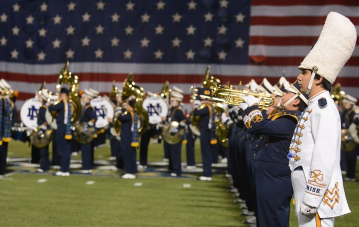 The Notre Dame Marching Band performs at last year's Shamrock Series against Boston College.
