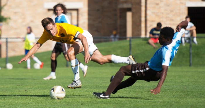 Irish graduate student captain Evan Panken battles for a loose ball during Notre Dame's 1-1 tie versus Valparaiso on Aug. 22 at Alumni Stadium.