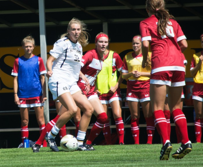 Irish junior forward Meghan Doyle surveys the field during Notre Dame's 1-0 win against Wisconsin on Aug. 21. at Alumni Stadium.