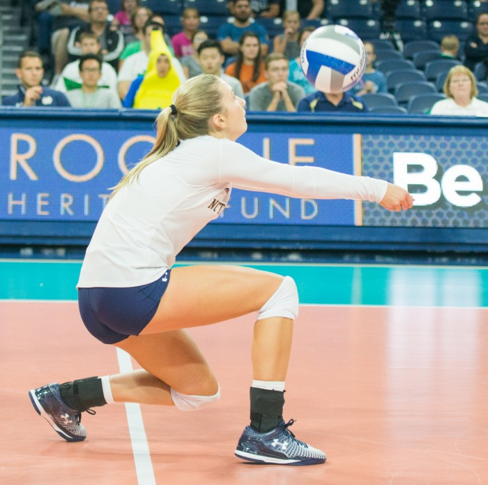 Sophomore libero Ryann DeJarld passes the ball in Notre Dame's 3-0 loss to Coastal Carolina on Sept. 2 in the Shamrock Invitational at Purcell Pavilion. DeJarld was selected to the All-Tournament Team.