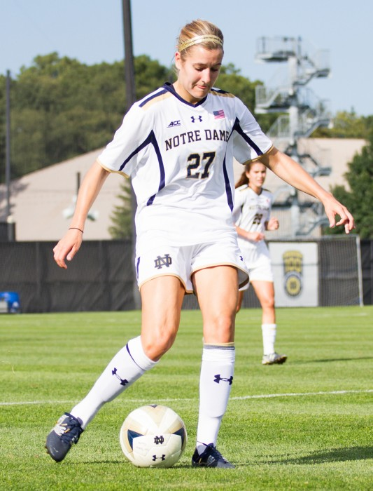 Irish senior Kaleigh Olmsted dribbles the ball during Notre Dame's 1-0 victory over Missouri on Sept. 4 at Alumni Stadium.