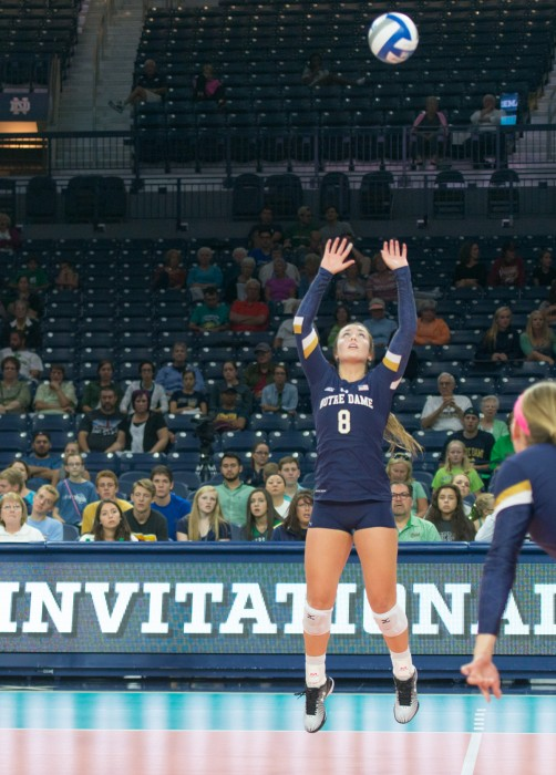 Irish junior setter Caroline Holt sets up a kill during Notre Dame's 3-0 loss against Coastal Carolina on Sept. 2 at Purcell Pavilion. Holt registered at least 30 assists in each of Notre Dame's wins this weekend.